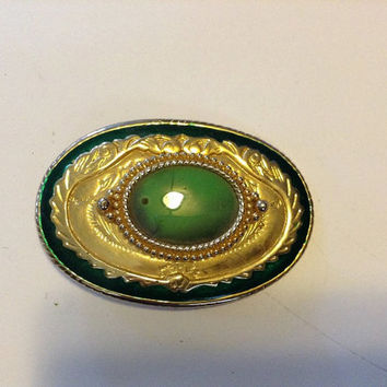 Green Oval Gem in Goldtone Belt Buckle