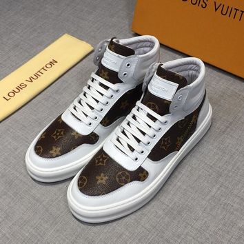 LOUIS VUITTON White Hi-Top Leather LV Sneakers - Best Deal Online