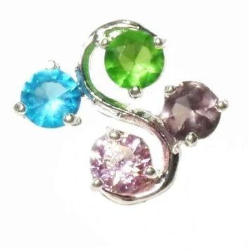 Belly Ring Top Down 4 Color Gem Non Dangle Naval Steel Body Jewelry