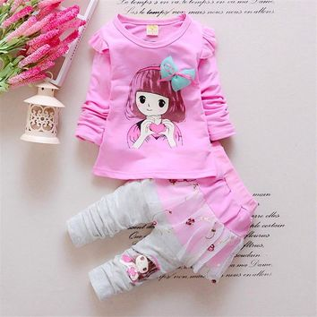 BibiCola Baby Girl Clothing Set Childern Girl Casual Leisure T-shirt+Lace Dress Pants Toddler 2pcs Suit Bebe Girl Cute Clothes