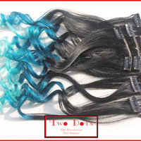 18' Ombre Clip in Human Hair Extensions. Fade from Black, Dark to Light Turquoise, Blue, 18 inches Full Set 100% Human Hair.