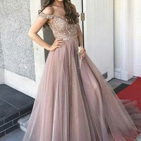 Off-the-Shoulder Blush A-Line Tulle Prom Dresses Beading Long Backless Evening Dress S2169