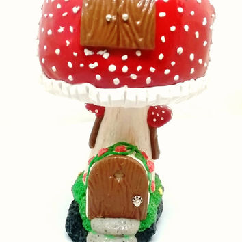 Fairy garden miniature mushroom house. Red fairy house. Polymer clay fairy garden accessories with glow in the dark windows.