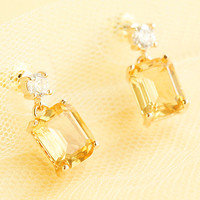 Yellow Emerald Cut Crystal Dangle Earrings | Fashion Jewelry and Accessories