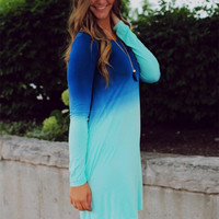 Casual Dip Dyed Blue Long Sleeve Mini Dress