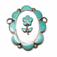 Zuni Sterling Turquoise Mother of Pearl Flower Pendant Focal
