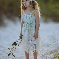 GREEN SHOWER HER WITH HEARTS DRESS