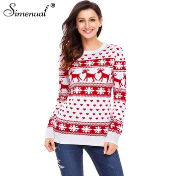 Simenual Snowflake deers sweaters fashion 2018 women pullovers winter jumper knitwear ugly christmas sweater Santa pull femme