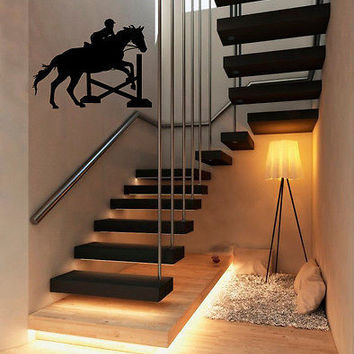 Wall Vinyl Decals Sticker Room People Horse Riding with Obstacles KJ2524