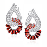 Circling Red Baguette Cubic Zirconia Earrings