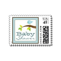 Tweet Tweet Baby Shower Invitation Stamps: blue from Zazzle.com