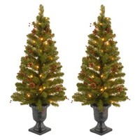 3.5' Pre-Lit Decorated Porch Pot Trees (2) - Clear Lights