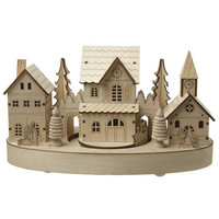 Traditional Wooden Christmas Scene With Moving Train and LED Lights, Battery Operated, ornament, village scene, decoration