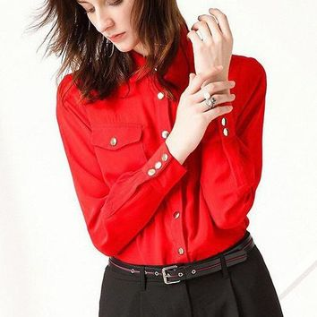 Shirt Collar Tencel Blouse