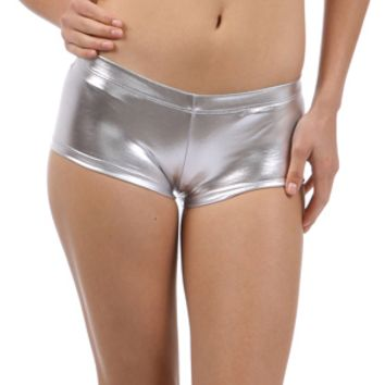 Metallic Silver Booty Shorts