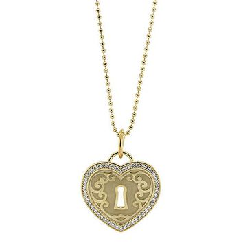 Diamond Padlock Heart Necklace