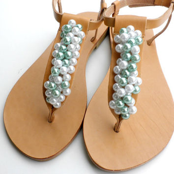 Wedding leather sandals, Pearl sandals, Wedding flats, Bridal sandals, Bridesmaids Summer leather sandals- White teal pearls women flats