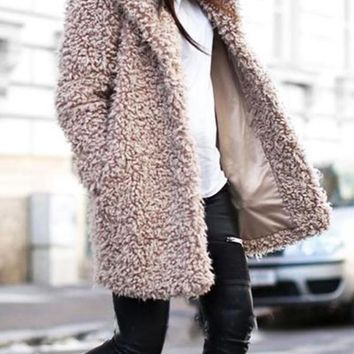 New Khaki Faux Fur Pockets Turndown Collar Long Sleeve Casual Coat