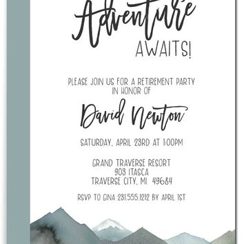 Adventure Awaits Retirement Invitations