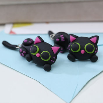 1Pair Handmade Polymer Clay Cute black Cat animal Stud Earrings Ear Stud jewelry brincos Free Ship