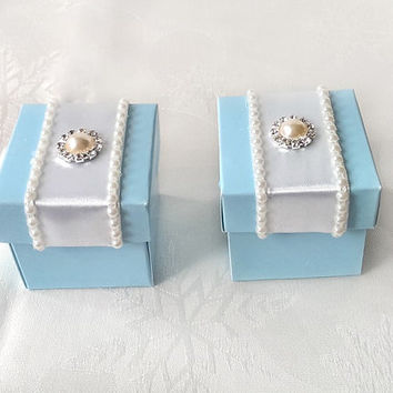 blue pearl favor box, wedding, bridal shower, baby shower, anniversary party gift box set of 10