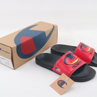 Champion Life Youth Slide Sandals Repeating Logo Red Black - Best Online Sale