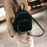 Velvet Mini Backpack (Burgundy, Green, Black)