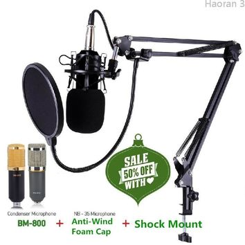 Vogue BM800 Condenser Microphone Pro Audio Studio Sound Recording Arm Stand Pop Filter(Color:Pink,Blue,White,Black)