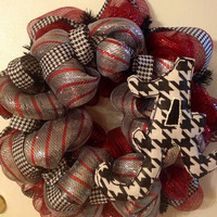 Bama deco mesh wreath with fabric covered burlap houndstooth A