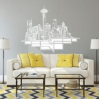Wall Decal Vinyl Sticker Seattle USA US skyline buildings tower town a124