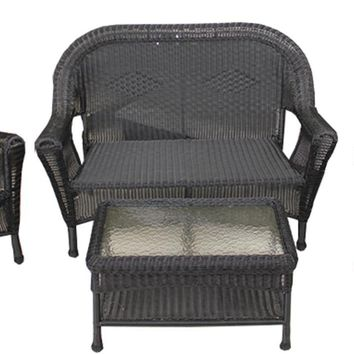 4-Piece Black Resin Wicker Patio Furniture Set- 2 Chairs Loveseat & Table