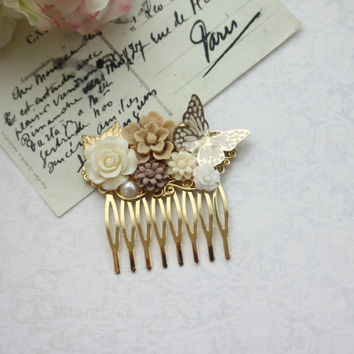 Ivory Rose Flower Gold Butterfly, Brown Latte Flower, Gold Leaf Hair Comb. Gold and Ivory Wedding Hair Piece. Gold Comb. Bridesmaids Gifts.