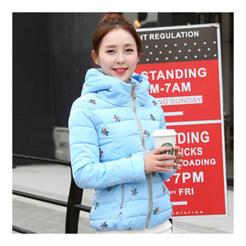 Winter Slim Embroidered Hooded Woman Down Coat   water blue   M