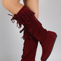 Lace Up Fringe Cuff Vegan Suede Moccasin Boots