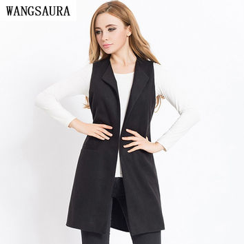 Long Vest Sleeveless Pocket Duster Coat