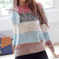 Striped pullover knitted A 080520