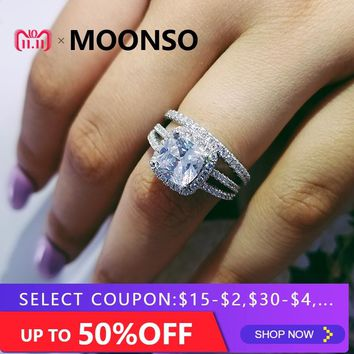 925 Sterling silver wedding Rings set 3 in 1 band ring for Women engagement bridal fashion jewelry finger moonso R4627