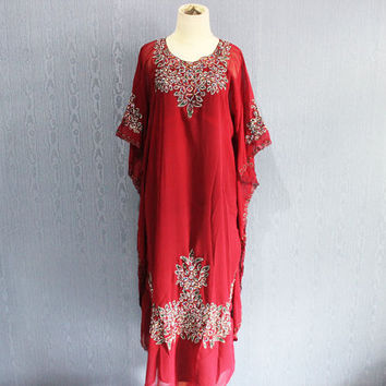 Red Caftan Maxi Dress Plus Size Maternity Dress Caftan Dress for beach cover ups, Resortwear, Loungewear, Maxi Dresses, Gift Dress