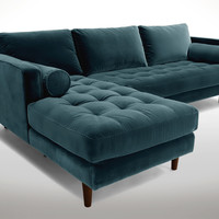 Sven Pacific Blue Left Sectional Sofa