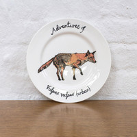 Curious Fox Large Bone China Plate