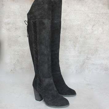 sbicca - gusto - black over the knee suede leather boots