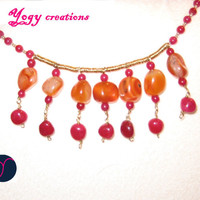 Orange agate & pink aventurine choker necklace by Yogy's