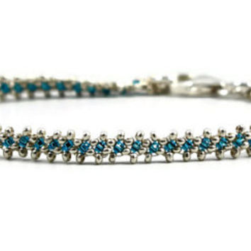 Sterling Silver Bracelet Capri Blue Beaded Chain Layering Bracelet