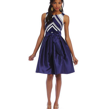 Betsy & Adam Striped Taffeta Party Dress | Dillards