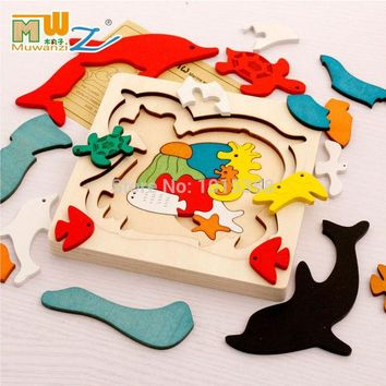 DCCKJG2 Free shipping kids/children educational wooden toys multilayer cartoon 3D animal puzzle baby gift one piece