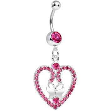 Pink Gem Heart Wreathed Butterfly Dangle Belly Ring
