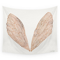 Society6 Cicada Wings In Rose Gold Wall Tapestry