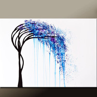 Abstract Canvas Tree Art Painting 36x24 Original Contemporary Landscape Art by Destiny Womack  - dWo - The Weeping Willow