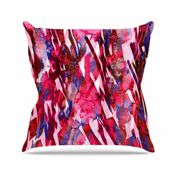 "Ebi Emporium ""Frosty Bouquet 5"" Maroon Abstract Outdoor Throw Pillow"