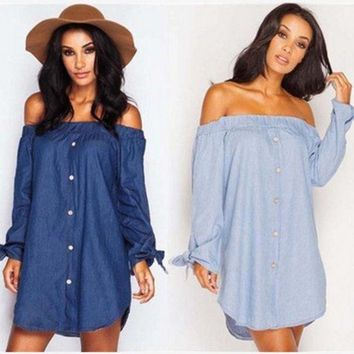 ESBONX5H Butterfly Hot Sale Autumn Stylish Sexy Long Sleeve Denim One Piece Dress